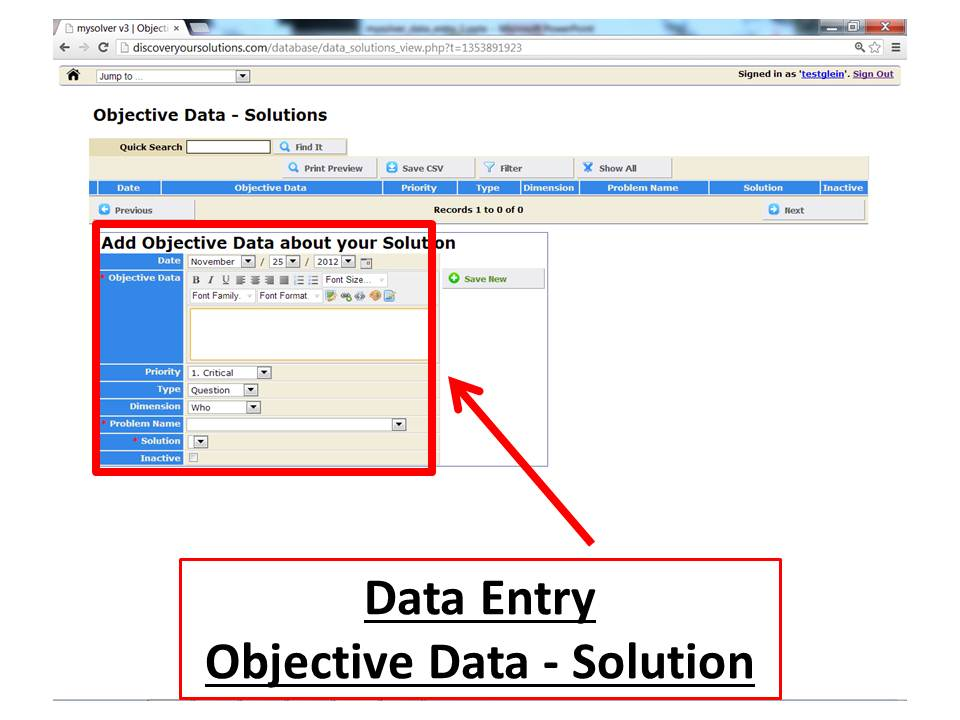 Data Entry Form for the MySolver™ database