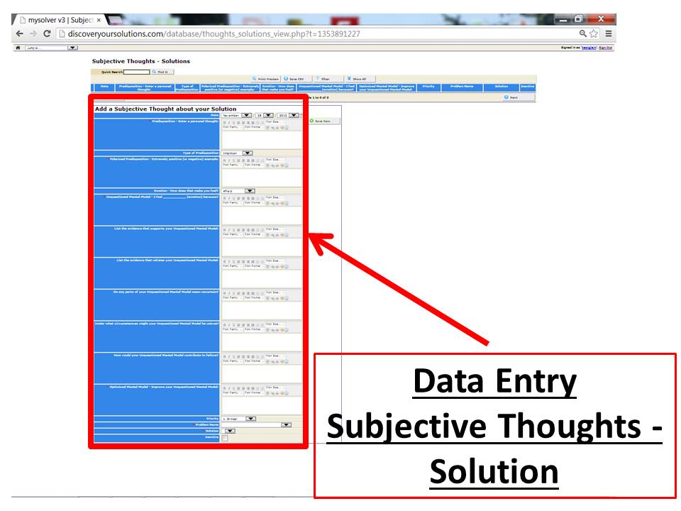 Data Entry Form for Subjective Thoughts about your Problem in the MySolver™ database