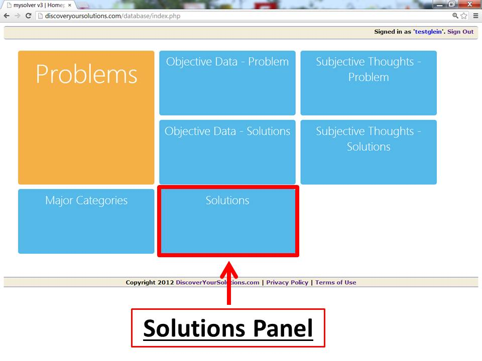 Screenshot of the Main Menu for the MySolver™ database with the Solutions panel outlined.