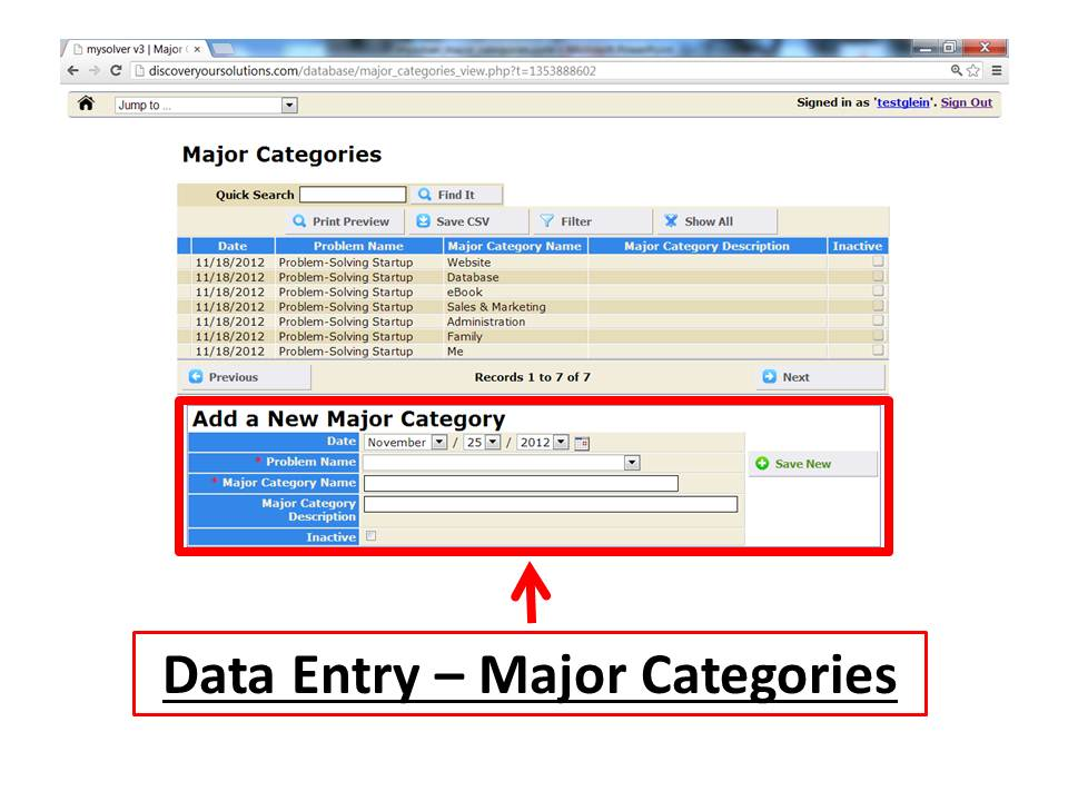 Screenshot of the MySolver™ data entry form for 'Add a New Major Category'.