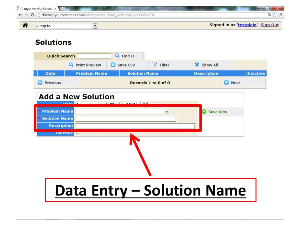 Screenshot of the MySolver™ data entry form for 'Add a New Solution'.